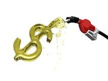 Pompa di gas sopra il riempimento del segno del dollaro Immagini Stock