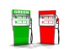 Pompa di gas verde e rossa Fotografie Stock
