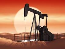 Pompa di olio al tramonto Fotografia Stock