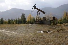 Pompa di olio nelle montagne carpatiche Immagine Stock