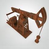 Pompa-presa arrugginita su dettagliata, impianto offshore rappresentazione isolata industria del combustibile, illustrazione di c Immagine Stock Libera da Diritti