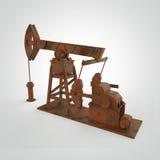 Pompa-presa arrugginita su dettagliata, impianto offshore rappresentazione isolata industria del combustibile, illustrazione di c Fotografie Stock