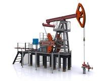 Pompa-presa dell'olio su una priorità bassa bianca Fotografie Stock Libere da Diritti