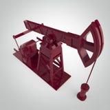 Pompa-presa metallica rossa su dettagliata, impianto offshore rappresentazione isolata industria del combustibile, illustrazione  Immagine Stock