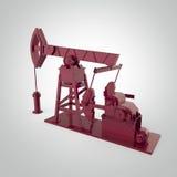 Pompa-presa metallica rossa su dettagliata, impianto offshore rappresentazione isolata industria del combustibile, illustrazione  Fotografia Stock