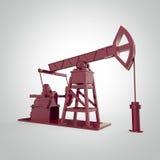 Pompa-presa metallica rossa su dettagliata, impianto offshore rappresentazione isolata industria del combustibile, illustrazione  Fotografie Stock Libere da Diritti
