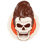Pompadour Skull Head. A skull head with a cool hairstyle Stock Image