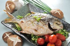 Pompano. Barbecue Pompano fish seafood dinner Royalty Free Stock Photos