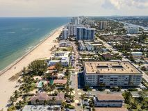 Pompano Beach Drone Shot. Over view of Pompano Beach, FL. on a beautiful day Stock Photos