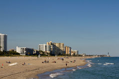Pompano beach and lighthouse. Pompano Beach shoreline and lighthouse Stock Photo