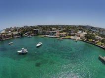 Pompano Strand, de luchtmening van Florida van kustlijn royalty-vrije stock afbeelding
