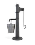 Pompe à eau avec le seau sur un fond blanc rendu 3d Photo stock