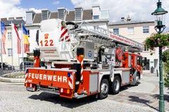 Pompe à incendie sur une exposition de lutte contre l'incendie image stock