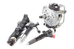 pompe à injection de carburant et à essence photographie stock