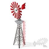 Pompe de vent pour le pompage de l'eau à la ferme Usine à la maison d'énergie éolienne pour la production d'électricité illustration libre de droits
