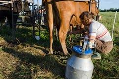 Pompe della mungitrice della donna dell'agricoltore della lattaia Fotografie Stock Libere da Diritti