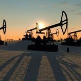Pompe di olio nell'illustrazione del deserto 3D Fotografia Stock