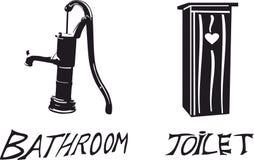 Pompe et toilette à eau Image stock