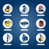 Pompe idrauliche Icone piane Royalty Illustrazione gratis