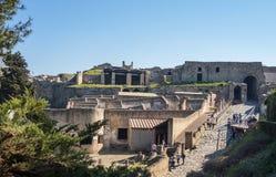 Pompei är hemmet av den forntida romaren fördärvar, delen av UNESCOvärldsarven arkivbilder