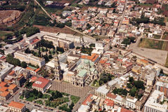 Pompei. The chatedral of pompei viewed from air Stock Photography