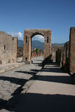 Pompei. Ruins of pompei behind the vesuv Stock Images