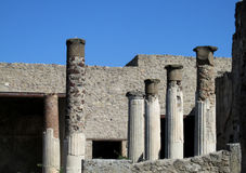 Pompei ancient Roman ruins - Pompei Scavi walls, arcs and columns Royalty Free Stock Photo
