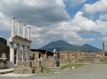 Pompei ancient Roman ruins - Pompei Scavi walls, arcs and columns royalty free stock image