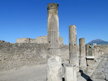 Pompei ancient Roman ruins - Pompei Scavi walls and columns Stock Image