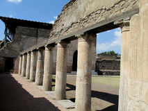 Pompei ancient Roman ruins - Pompei Scavi walls and columns Stock Photo
