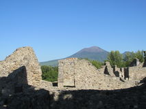 Pompei ancient Roman ruins - Pompei Scavi walls Royalty Free Stock Images