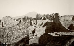 Pompei. Black and white film photo of Pompei ruins and excavations Stock Photo