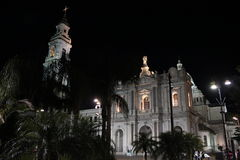 Pompei Cathedral at night Stock Photos