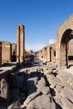 Pompei is een oude die stad in ADVERTENTIE 79 wordt begraven van de uitbarsting van stock foto