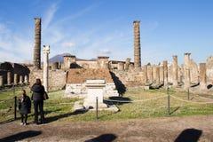 Pompei is een oude die stad in ADVERTENTIE 79 wordt begraven van de uitbarsting van royalty-vrije stock afbeeldingen