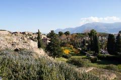 Pompei is een oude die stad in ADVERTENTIE 79 wordt begraven van de uitbarsting van stock afbeeldingen