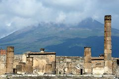 Pompei en de Vesuvius Stock Fotografie