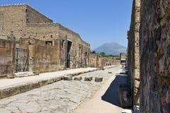 Pompei en de Vesuvius Stock Afbeelding