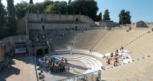 Pompei, Italië - Oktober 18, 2018: Weergeven van Groot Theater van Pompey in Sunny Day De Plaats van de Erfenis van de Wereld van stock footage