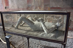 Pompei - Petrified body. The body of a man surpriced by the Vesuvio eruction Royalty Free Stock Photography