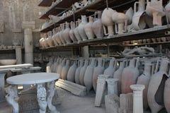 Pompei roman amphoras and petrified body Stock Photos