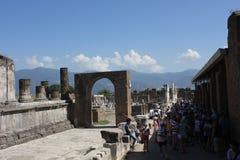Pompei roman Forum and tourists Stock Photography