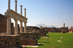 Pompei ruins and Mount Vesuvius. Image of the Pompei ruins with vesuvius in the background and room for copy Royalty Free Stock Image