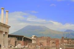 Pompeia e montagem o Vesúvio Imagem de Stock