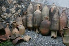 Pompeian amphorae 庞贝城(那不勒斯-意大利) 库存图片
