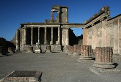 Pompeii. Ruins at Pompeii, Italy, Europe. The city was destroyed by the eruption of the vulcano Vesuvius stock photography