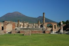 Pompeii. Ruins at Pompeii, Italy, Europe. The city was destroyed by the eruption of the vulcano Vesuvius royalty free stock photos