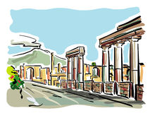 Pompeii. Illustration of the excavations of Pompeii with Vesuvius in the background Royalty Free Stock Image