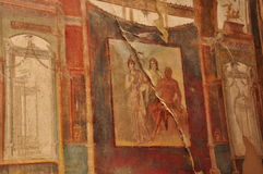 Pompeii archaeological site, Italy. Ancient red frescoes Stock Photography