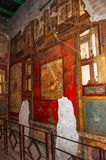 Pompeii, the best preserved archaeological site in the world, Italy. Frescoes on the interior wall at home destroyed. Pompeii, the best preserved archaeological stock photography